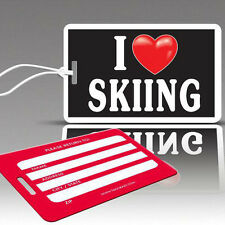 TagCrazy Fun Luggage Tags, I Heart Skiing Design, Durable Plastic Loops, 2 Pack