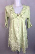 ELISA CAVALETTI • Pistachio Green Knit And Embroidered Tunic • Size Medium