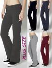 YOGA Pants Stretch BLACK/NAVY/GRAY Fold Over - Flare Plus Size XL/1X/2X/3X