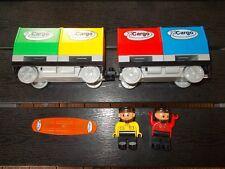 Lego® Duplo Eisenbahn - Intelli - 2 Cargo- Wagen u. Codestein + Lokführer