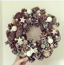 Pincone Wreath with Snowballs - Christmas Door Decoration