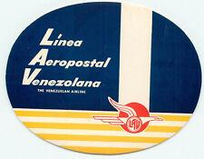 LAV VENEZUELA AIRLINES LINEA AEROPOSTAL VENEZOLANA  LUGGAGE LABEL