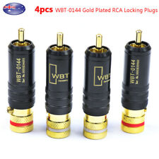 4pcs Gold Plated RCA Locking Soldering Plugs Audio Video WBT-0144 Connectors AU