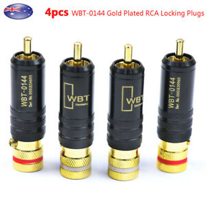 4pcs Gold Plated RCA Locking Soldering Plugs Audio Video for WBT-0144 Connectors