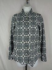 J Crew Perfect Shirt Size XS Gray White Medallion Print
