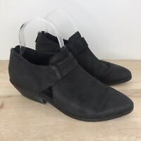 Eileen Fisher Size 8 Women's LISBON Nubuck leather Booties Boots Black Back Zip