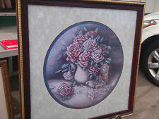 Home Interior by Jan Anderson Burgandy & pink roses Clock book & needle with tre