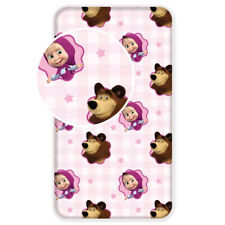 NEW Masha and The Bear SINGLE FITTED BED SHEET 90x200cm 100% COTTON