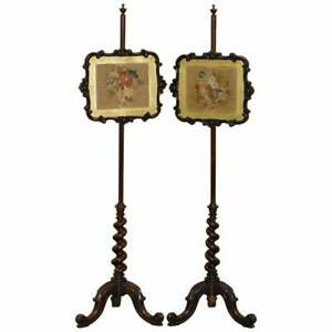 PAIR OF VICTORIAN ROSEWOOD POLE SCREENS WITH BARLEY TWIST COLUMN ORNATE DETAIL