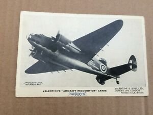 B&W  card  Valentines aircraft recognition series  Hudson