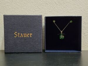 New Stauer Helenite Pendant Necklace and Stud Earrings Set in Box