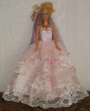 BARBIE SINDY DOLL PINK DRESS BALL WEDDING GOWN, VEIL CLOTHING, LACE  - BEAUTIFUL