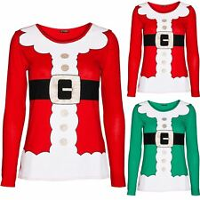 Womens Christmas Santa Claus Costume Father Suit Ladies Xmas Long Sleeve T Shirt
