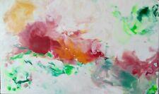 """PEINTURE À LA CIRE, tableau abstrait original signé HZEN, Paysage, """"JADIS"""" 46x27"""