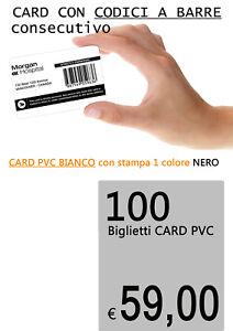 100 tessere card con CODICE A BARRE - BARCODE stampa 1 lato 1 colore nero