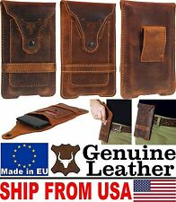 # FOR PHONES WITH ARMOR COVER - BULL'S HEAD GENUINE LEATHER POUCH & CARD POCKET