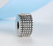 New Silver Plated BEAD SPACER Clip Stopper Charm Fits European brand bracelet