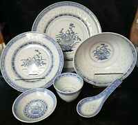 Vintage Chinese Porcelain Rice Grain Flower Pattern 6 Piece Place Setting