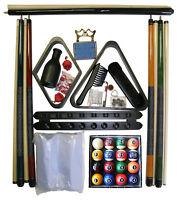Billiard - Pool Table Accessory Kit W Modern Style Ball Set Black Finish