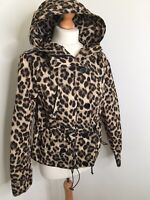 Michael Kors Jacket Medium Leopard Print Rain Coat Hip Length Hood Autumn Animal