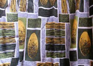 GROOVY Abstract Green & Yellow Vintage Barkcloth Curtains Caravan Camper