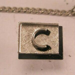 -C Initial Monogram Letter Name Font Vintage SWANK Lapel Pin Tie Tack