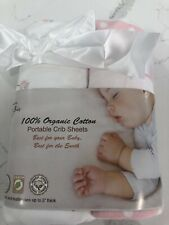 100% Organic Cotton Sheets for Pack 'n Play and Other Portable/Mini Cribs,Pin...
