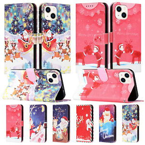 Flip Wallet Merry Christmas Leather Stand Case Cover For iPhone 11 12 13 Pro Max