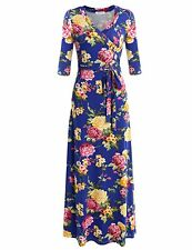 Meaneor Women V Neck Wrap Tie Waist Maxi Dresses 3/4 Sleeve Floral Long Dress S