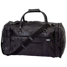 """21"""" Black Genuine Leather Tote Bag Carry On Luggage Travel Retails for $89.99"""