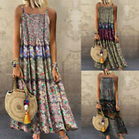 Women Vintage Bohemian Print Floral Sleeveless O-Neck Straps Linen Maxi Dress