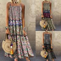 Women Vintage Bohemian Print Floral Sleeveless O-Neck Straps Linen Maxi Dress
