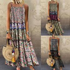 Women Vintage Bohemian Print Floral Sleeveless O-Neck Straps Linen Maxi Dress LQ