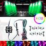 8Pcs RGB 48 LEDs Rock Lights Truck Bed Under Body Lighting Kit+IR Remote Control