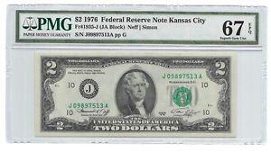 1976 $2 KANSAS CITY FRN, PMG SUPERB GEM UNCIRCULATED 67 EPQ BANKNOTE