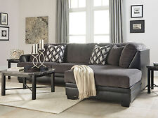 JASPER Modern Sectional Living Room Couch Set - NEW Gray Microfiber Sofa Chaise