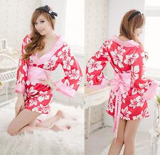 Costume Completino Bianco Fiori Kimono Giapponese Cosplay Japanese Vestaglia
