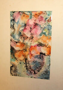 1990 WATERCOLOR PAINTING ABSTRACT STILL LIFE WITH FLOWERS SIGNED