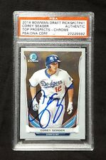 Corey Seager PSA/DNA slabbed signed baseball card 2014 Bowman Chrome Draft CTP41