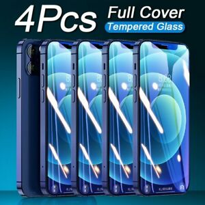 4Pcs Full Tempered Glass For iPhone 12 Mini 11 Pro X XS Max XR Screen Protector