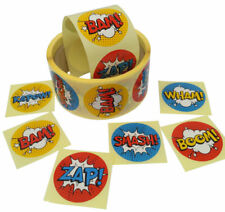 250 Superhero Stickers Birthday Party Labels Size 40mm Round Circle Stickers