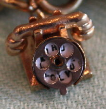 """Antique 14K GOLD Rotary TELEPHONE CHARM Mechanical Moving Dial """"Hello I Love You"""