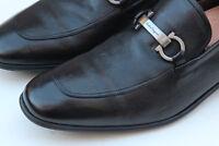 Salvatore Ferragamo Borges Apron Bit Black Leather Loafer Slip On Sz 9.5 2E