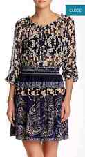 NWT $300 Gypsy 05 Smocked Mini 95% Silk Dress (S) Navy SOLD OUT!