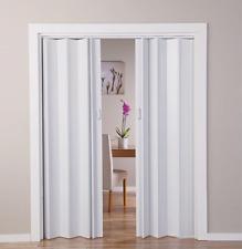 White Oak Double Folding White Door Bi PVC Fold Panel Concertina Gloss Closet