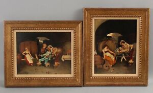 Pair Antique Italian Genre Barroom Oil Paintings, Wine Cellar & Musicians, NR