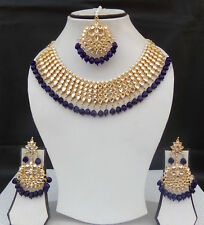 SOUTH INDIAN JEWELRY GOLD PLATED BRIDAL SET KUNDAN PEARL NECKLACE EARRINGS TIKKa