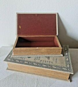 Book Box Set of 2 Hidden Jewelry Secret Fake Faux Storage Box Magnetic Antique