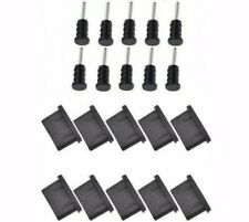 10x ANTI-DUST PLUG SET PAIR USB TYPE-C + JACK 3.5mm BLACK SILICONE UNIVERSAL