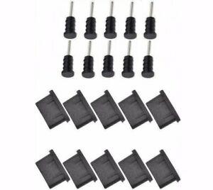10x ANTI-DUST PLUG SET PAIR USB TYPE-C + JACK 3.5mm BLACK SILICONE UNIVERSAL
